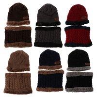 ingrosso sciarpe della neonata-2pcs bambini neonate ragazzi caldi berretti invernali invernali berretti a maglia cappello sciarpa cappelli baby girl cappelli 2019