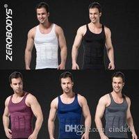 chaleco para adelgazar camisa de los hombres al por mayor-Body Shaper para hombres Chaleco para adelgazar Chaleco Pérdida de peso Grasa Top Gris Azul Negro Púrpura Blanco S-2XL