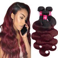 bordo ombre saç toptan satış-1b / bordo Ombre İnsan Saç Paketler Malezya vücut dalga Saç Örgü Demetleri Vücut dalga virgin İnsan saç uzatma