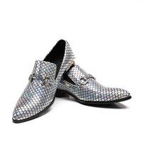 lentejuelas de oro pisos al por mayor-Hombres Mocasines Lentejuelas Zapatillas Pisos Oro Astilla Glitter Banquete Boda Zapatos de vestir para hombre Cuero genuino Casual