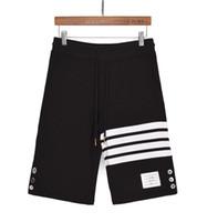 ingrosso tessuto di cotone tinto in filato-2019 Maglia estiva in puro cotone con bottoni in filo tinto Pantaloncini sportivi della serie Five Pants