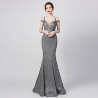 Wholesale floor length grey bridesmaid dresses for sale - Group buy Modest Real Photo grey Matte stain Mermaid evening Occasion Dresses off the shoulder Full length simple Princess Pageant prom Gowns