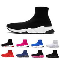 erkekler için beyaz çoraplar toptan satış-Balenciaga sock ayakkabı 2020 Men Women Designer Sock Shoes Speed Trainer Triple Black Star Full White Red Blue Fashoin Luxury Socks Canvas Sneakers Casual Trainers