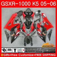 gsxr k5 fairings kırmızı toptan satış-Vücut + Kaput SUZUKI GSXR-1000 GSXR 1000 05 06 Kaporta