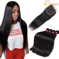 12 cabelos lisos malaysianos venda por atacado-8A Peruano Feixes de Cabelo Humano Em Linha Reta com Fechamento Peruano Virgem Do Cabelo Com 4x4 Fechamento Rendas Peruano Malaio Feixes de Cabelo Indiano