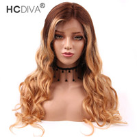 Wholesale 12 inches blonde lace wig resale online - Malaysian Human Hair Wigs Ombre Color Brown Blonde Lace Front Wigs Body Wave inch Grade A Good Quality