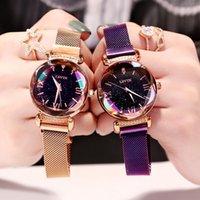 relógios magnéticos venda por atacado-Luxo Rose Gold Mulheres Relógios Moda Diamante Senhoras Céu Estrelado Relógio Magnético Relógio de Pulso Feminino À Prova D 'Água Para Relógio Presente