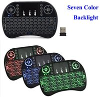teclado branco do teclado sem fio venda por atacado-Rii I8 2.4GHz Wireless Mouse Gaming Teclados Branco Backlight Multi-color retroiluminado mouse controle remoto para Android TV Boxes MXQ PRO X96
