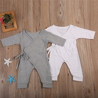Wholesale infant boys rompers gray resale online - Newborn Infant Baby Boy Girl Cotton Romper Jumpsuit Boys Girl Angel Wings Long Sleeve Rompers White Gray Autumn Clothes Outfit