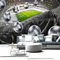 diseños de pintura para dormitorios. al por mayor-Mejoras para el hogar Campo de fútbol Póster en 3D Contexto Pintura de pared decorativa Mural Wallpaper para la sala de estar dormitorio
