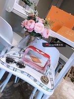 pvc şeffaf cüzdan toptan satış-En saplı Şeffaf Şeffaf PVC Kadın Omuz Çantaları Mektup Jöle Şeker Renk Kadınlar Messenger Crossbody Çanta Lüks Dişiler küçük çantalar