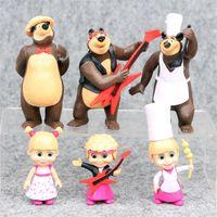 Wholesale masha bear toys online - Masha And Bear cm PVC Dolls Action Figure Collectible Model Toy set Christmas Gift for children