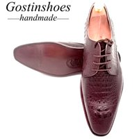 подлинная кожа крокодила печать оптовых-GOSTINSHOES HANDMADE Men Shoes Brown Genuine Leather Pointed Toe Lace-up Full Leather Outsole Crocodile Pattern Print GSTN006