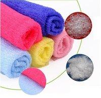 ingrosso tovagliolo da bagno giapponese in nylon salux-Salux Nylon giapponese esfoliante bellezza pelle bagno doccia panno lavaggio asciugamano posteriore scrub bagno spazzole multi colori