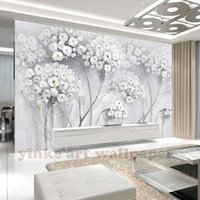 Wholesale bedroom art photos flowers for sale - Custom North Europe Mural Photo Wallpaper canvas painting flower fashion Wall Mural Abstract Art Wall Paper Bedroom Wall Decor