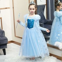 yılbaşı pulları toptan satış-Perakende 2020 Yüksek çocuklar kar kraliçesinin payetler prenses elbiseler kızlar yılbaşı elbise çocuk tasarımcı Lüks parti Pileli Cosplay giysi elbise