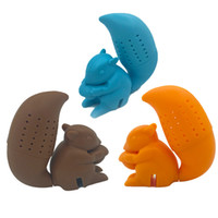 Wholesale cute eco bags resale online - Cute Squirrel Tea Strainer Bags Creative Food Grade Silicone loose leaf Tea Infuser Filter Diffuser Fun Accessories LJJA3460