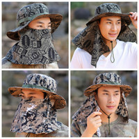 Wholesale outdoor camping caps resale online - Summer sun hat summer camouflage windproof sunscreen fisherman hat outdoor climbing camping visor fishing cap ZZA957