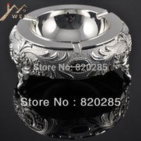 Wholesale european ashtray resale online - round shape silver finish metal ashtray in hotel or room