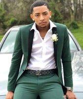 ingrosso il colore più adatto per gli uomini scuri-2019 Smoking color verde scuro per matrimonio One Button Slim Fit Abiti da cerimonia per uomo Custom Made Best Blazer Suit (Jacket + Pants)