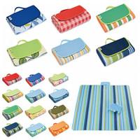 plaj mat halı toptan satış-21 Renkler 145 * 180 cm Açık Spor Piknik Kamp Pedleri Taşınabilir Katlanır Mat Plaj Mat Oxford Bez Halılar Uyku CCA11706 10 adet