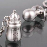ingrosso capezzoli portachiavi-Commercio all'ingrosso- 1pairs Portachiavi in argento placcato Bottiglia di latte Capezzolo Portachiavi Baby shower Portachiavi regalo di nozze favore gioielli con ciondoli