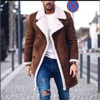 erkek kış uzun palto yün toptan satış-2018 Yeni Kış Yün Coat Erkekler Boş Uzun Bölümler Yün Palto Erkek Saf Renk Günlük Moda Ceketler Günlük Erkekler Palto