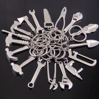 taladros eléctricos de mano al por mayor-Mini herramientas de mano llavero de metal hacha destornillador taladro eléctrico martillo alicates encanto mezclado llavero asimiento joyería de moda 170883