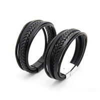 Wholesale mens stainless steel wristband online - Classic Genuine Leather Bracelet For Mens vintage Multilayer Magnet Handmade Hand Charm Magnetic clasp Wristband Cool Boys Jewelry Bulk