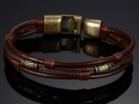 коричневые люди цинка оптовых-Мужской браслет из цинкового сплава Веревка тесьмы темно-коричневого цвета Кожаный браслет для мужчин Браслет Браслет Heren Punk Jewelry BL-123
