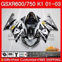 ingrosso k1 gsxr scollature in argento nere-Corpo 8Gifts per SUZUKI GSXR 600 750 GSXR600 2001 2002 2003 argento caldo nero 4HC.2 GSX R750 GSXR-600 GSX-R750 K1 GSXR750 01 02 03 Kit carena