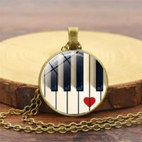 acessórios de piano venda por atacado-Moda acessórios criativos amor tempo de piano colar de pedras preciosas europa e américa novo pingente camisola cadeia de jóias por atacado
