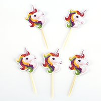 Wholesale baby cake stands resale online - 24pcs Unicorn Horse Cupcake Topper Pick Wedding Decoration Baby Shower Birthday Party Supplies Cake Baking Party Decoration