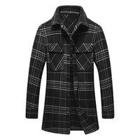 patrón de chaqueta de lana para hombre al por mayor-Diseñador para hombre mezclas de lana chaqueta de moda de la tela escocesa casual de invierno de la chaqueta más el tamaño de negocios a largo Coats