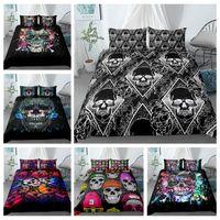Wholesale king beddings resale online - Black Color Duvet Cover Luxury Skull Bedding Set King Size D Skull Beddings and Bed Sets King Queen Size