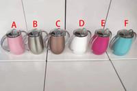 taza de leche para bebé al por mayor-Derrame de 10 oz taza de Sippy de la prueba del bebé Tazas botellas de bebé Chupete Copas del vaso del huevo libre de seguridad con aislamiento termo leche