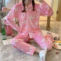 Wholesale velvet clothing resale online - Women s Spring Autumn Fashion Print SuitsTrendy Gold Velvet Fashion Print Letter Style Pajamas Long sleeved Alphabet High end Home Clothing