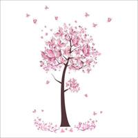 duvar ağacı kelebek toptan satış-Sıcak Pembe Kelebek Duvar Dekor Çiçekler Ağacı Duvar Çıkartmaları Çocuk Odası yatak odası Ev Dekor DIY Posteri Duvar Kağıdı Duvar Çıkartmaları