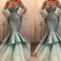 Wholesale white sparkle crystal for sale - Group buy Sparkle Mint Green Crystal Mermaid Evening Dresses With Puff Full Sleeves Sexy Off The Shoulder Long Prom Gowns Robe De Soiree