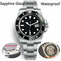 reloj de pulsera ss al por mayor-Glide Lock Bisel de cerámica de lujo Zafiro para hombre 2813 Movimiento mecánico automático SS Reloj de moda Relojes de diseño para hombres Relojes de pulsera btime