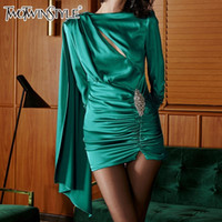 Wholesale clothes for working out for sale - Cloaked Dress For Women Long Sleeve Hollow Out Diamonds Mini Dresses Female Spring Fashion Elegant Clothes