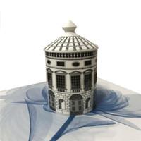 Retro Neuschwanstein Castle House Decorative Candle Holder Plate Creative White Black Geometric Lines Home Decor Gift