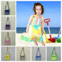 juguetes de playa para niños al por mayor-21 * 21 cm espacios en blanco niños concha de malla concha de playa bolsa de playa niños juguetes de playa reciben bolsa concha de almacenamiento bolsas