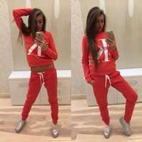 gelbe plaid-fliege großhandel-2 stück outfits für frauen 2019 frauen trainingsanzug brief drucken mode lässig pullover gerade hosen club outfits survetement femme