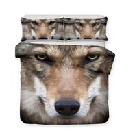 ingrosso faccia del fumetto degli animali-Serie Wild Animal The Face Of A Wise Wolf Set biancheria da letto realistica 3D Stampa Copripiumino Copripiumino Doona Biancheria da letto Tessili per la casa