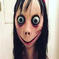 ingrosso parrucca sicura-Halloween Momo mascherina del partito di Halloween spaventoso Prank Fright maschera con parrucca puntelli di Halloween sicuro Emulsione Tessuto