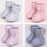 sapatos de cor sólida venda por atacado-moda infantil Bebés Meninas Meninos sapatos de inverno de cor sólida botas quentes da criança infantil outono da frente bebê Footgear dos desenhos animados Shoes