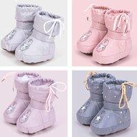 ingrosso scarpe colorate solide-moda per bambini ragazzi delle neonate scarpe invernali tinta unita stivali caldi del bambino pattini infantili autunno del fumetto Footgear bambino anteriore