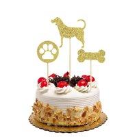bolinhas de papel cupcake venda por atacado-12 pcs Glitter Papel Brilhando Bolo Do Cão Topper Osso Pegada Cupcake Decoração Sobremesa para o Miúdo Fontes Do Partido de Aniversário