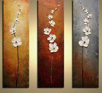 ölgemälde rahmen messer großhandel-WEEN Kein Rahmen Weiße Blume Handgemalte Ölgemälde Leinwand 3 Panels Modul Spachtel Wandbilder Artwork Home Dekorative